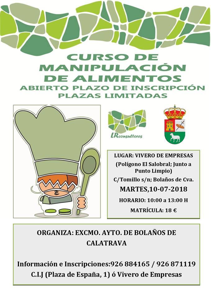 CURSO DE MANIPULADOR DE ALIMENTOS EN BOLAÑOS
