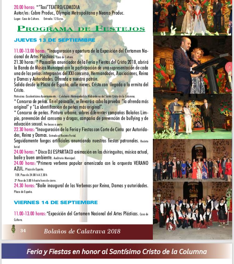PROGRAMA DE FERIA Y FIESTAS SANTÍSIMO CRISTO DE LA COLUMNA PARA EL DÍA DE HOY