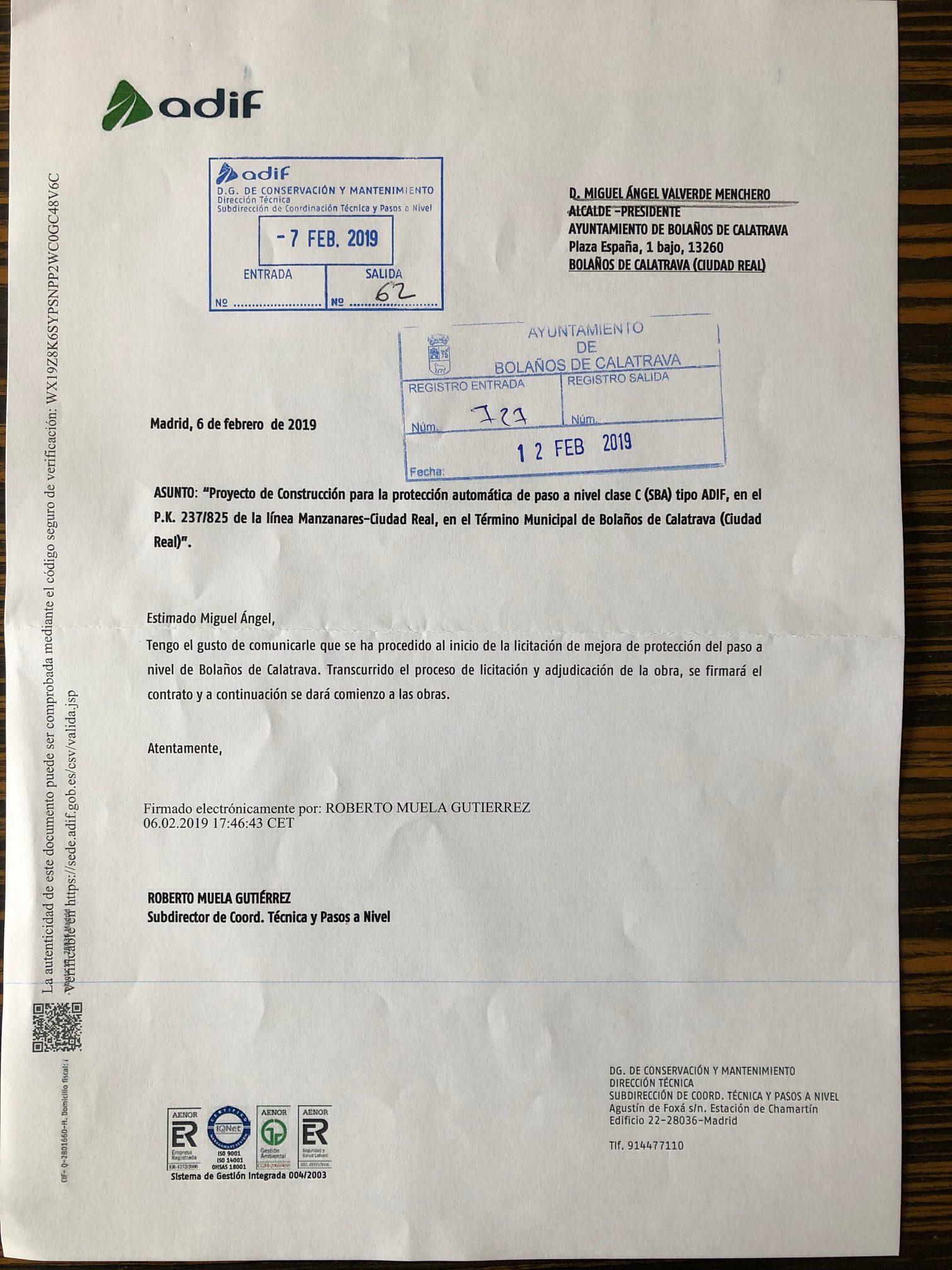 ADIF COMUNICA LA LICITACIÓN DE LAS OBRAS DE SU PASO A NIVEL