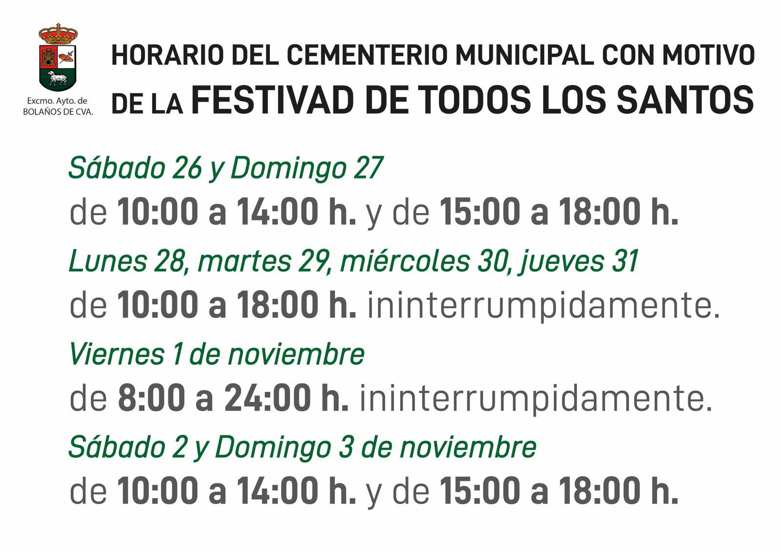 NUEVO HORARIO DEL CEMENTERIO MUNICIPAL ANTE LA FESTIVIDAD DE TODOS LOS SANTOS